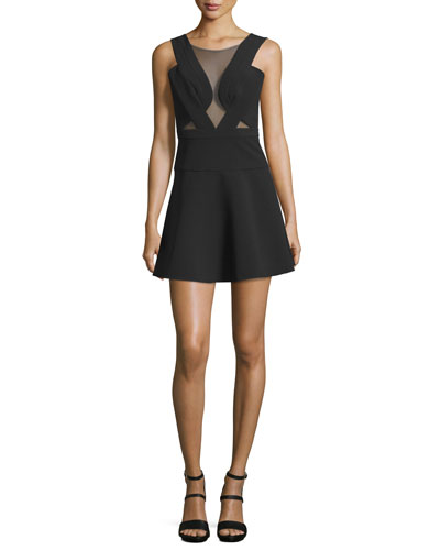 Britney Mesh-Inset Party Dress, Black