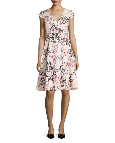 cap-sleeve floral-print wrap dress, antilles bubbles