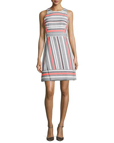 sleeveless jewel-neck striped dress, surprise coral
