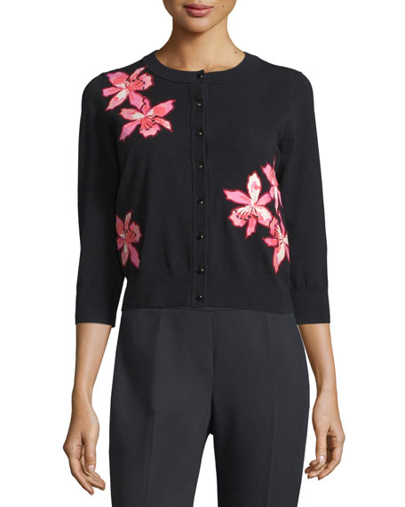 floral-appliqué button-front cardigan, black