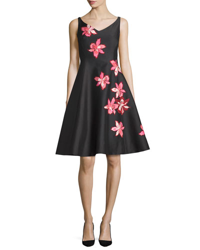 floral-appliqué fit-&-flare dress, black