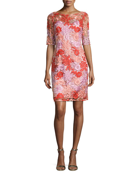Kay Unger New York Half-Sleeve Floral Lace Cocktail