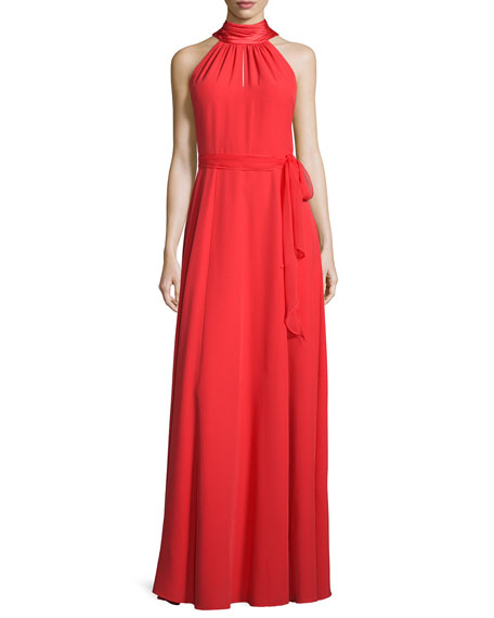 Kay Unger New York Sleeveless Halter Gown w/Chiffon