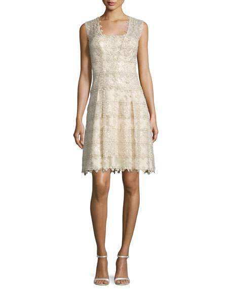 Kay Unger New York Sleeveless Metallic Lace Cocktail