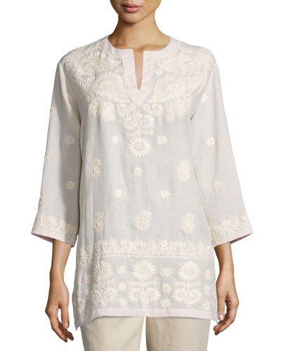 3/4-Sleeve Embroidered Tunic, Pink