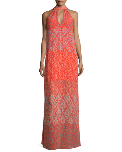 Sleeveless Printed Maxi Dress, Cherry