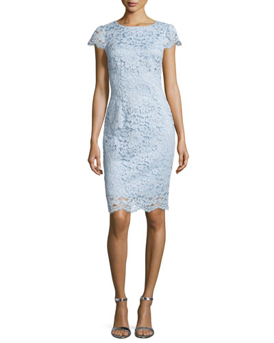 Short-Sleeve Lace Cocktail Dress, Light Lake