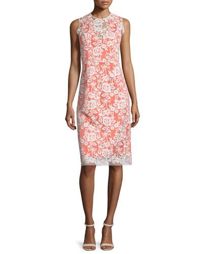 Sleeveless Lace-Overlay Cocktail Dress, Ivory/Sunrise