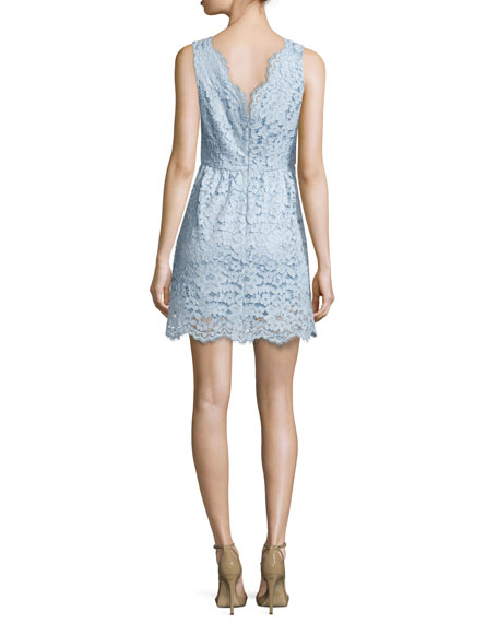 V-Neck Lace Cocktail Dress, Light Lake