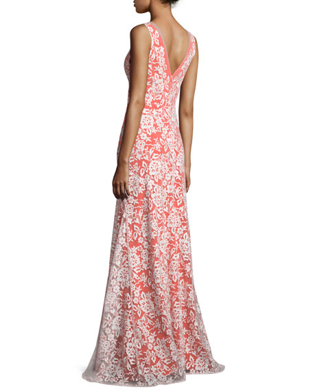 Sleeveless V-Neck Gown W/Embroidered Lace Overlay, Ivory/Orange
