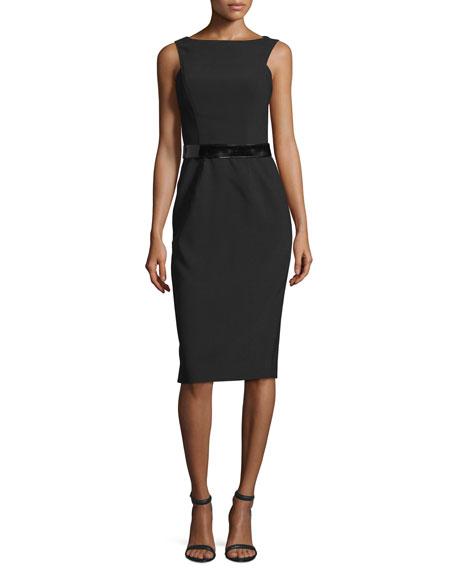 David Meister Sleeveless Belted Sheath Dress, Black