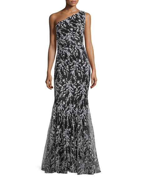 David Meister One Shoulder Floral Embroidered Mermaid Gown