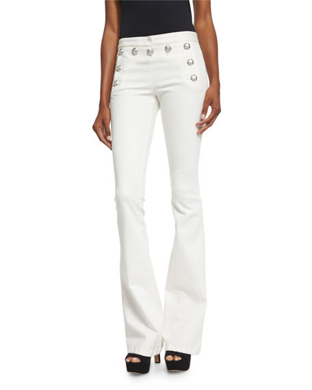 Stretch Flare Sailor Pants, White