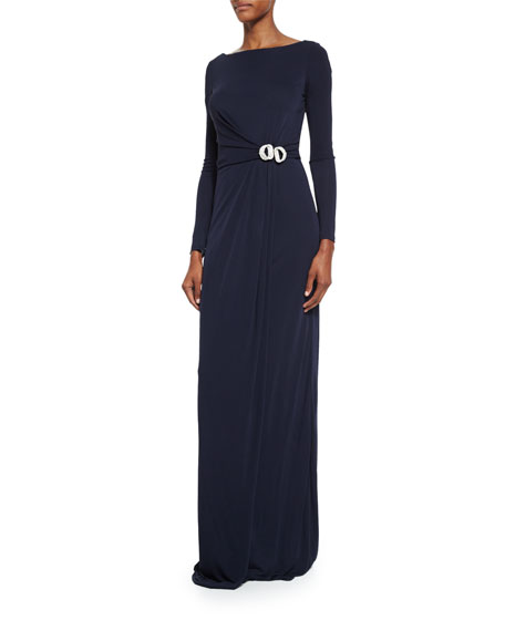 David Meister Long-Sleeve Buckled Jersey Gown, Navy