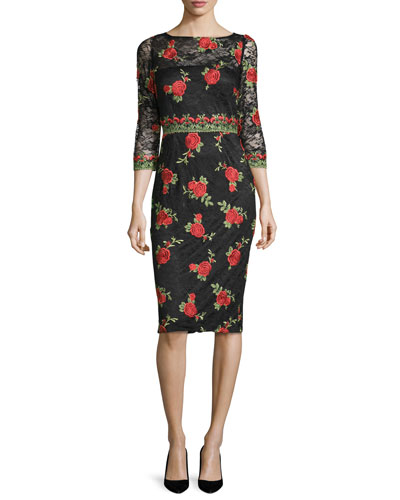 3/4-Sleeve Rose-Embroidered Dress, Black/Red