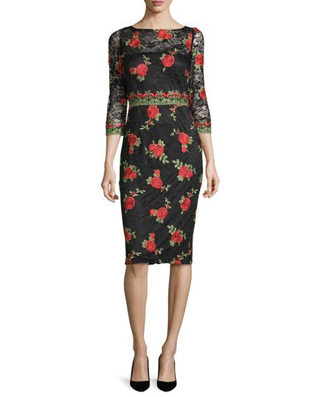 David Meister3/4-Sleeve Rose-Embroidered Dress, Black/Red