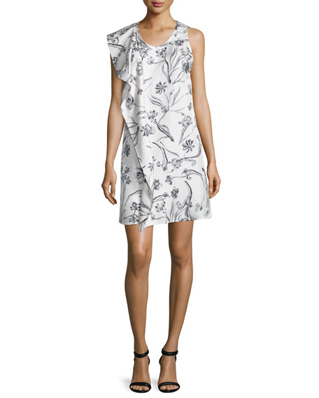 3.1 Phillip Lim Sleeveless Draped Floral Silk Dress, Lilac/White