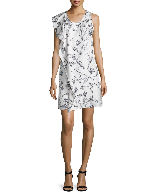 Sleeveless D Fl Silk Dress Lilac White