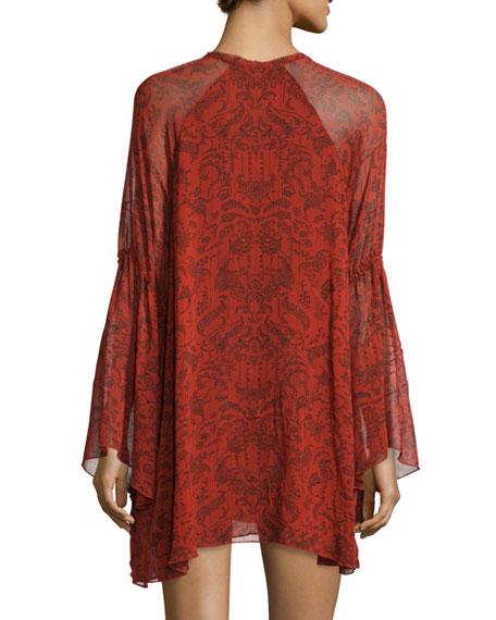 Appoline Long-Sleeve Damask Shift Dress, Red/Dark Navy