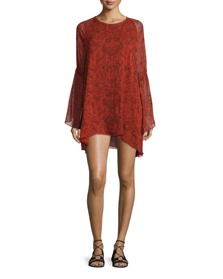 Iro Appoline Long-Sleeve Damask Shift Dress, Red/Dark Navy