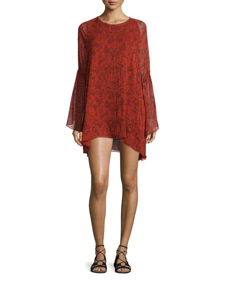 Iro Appoline Long-Sleeve Damask Shift Dress, Red/Dark Navy