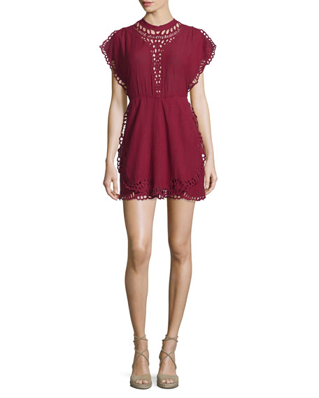 Iro Caidy Laser-Cut Mini Dress, Wine