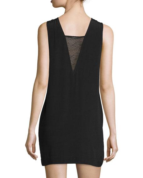 Maelie Sleeveless Lace-Trim Mini Dress, Black