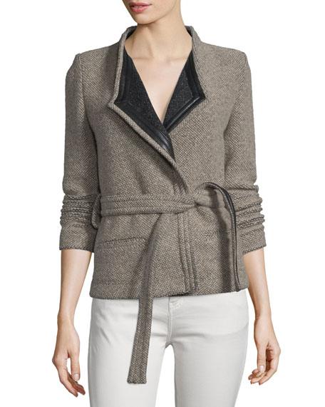 Iro Awa Belted Tweed Jacket, Beige/Black