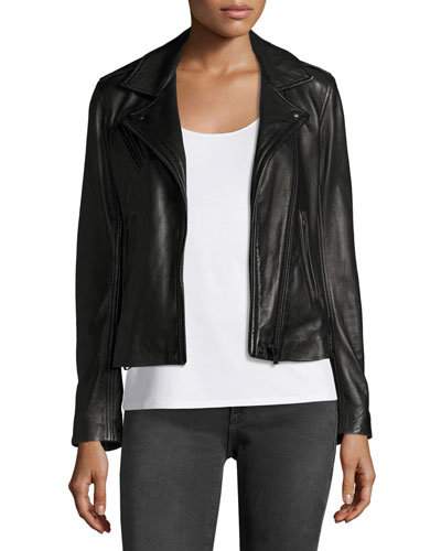 Han Leather Motor Jacket, Black Sale
