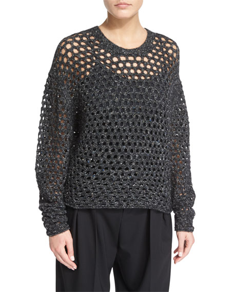 Iro Montero Netted Pullover Sweater, Black