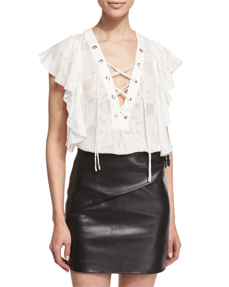Iro Gilka Printed Lace-Up Top & Elodie Leather