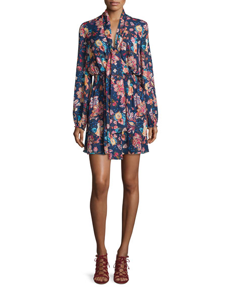 Haute Hippie Free Love Floral Silk Mini Dress,