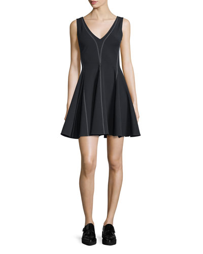 William Penn Sleeveless Ponte Circle Dress, Black
