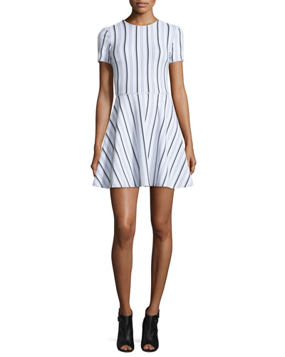 Clos Short-Sleeve Striped Circle Dress, White/Multicolor