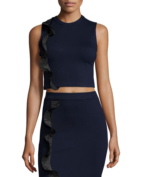 Opening Ceremony Stretch Ruffle-Trim Cropped Top, Ink