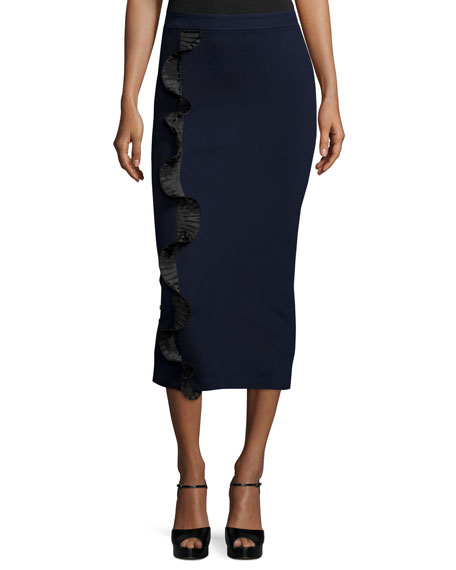 Opening Ceremony Stretch Ruffle-Trim Midi Skirt, Ink