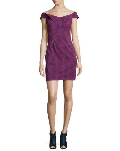 Medallion Jacquard Mini Dress, Dragonfruit