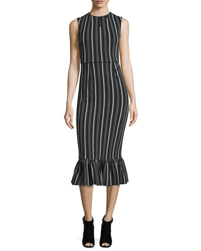 Sleeveless Striped Lotus Midi Dress, Black/Multicolor