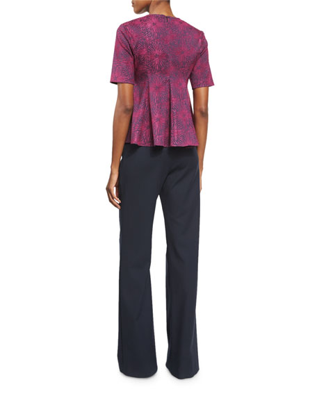 Medallion Jacquard Flared Penn Top, Dragonfruit