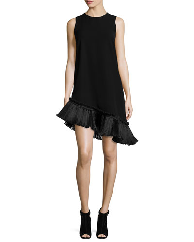 Stone Asymmetric Ruffle-Trim Shift Dress, Black