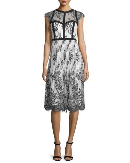 Cap-Sleeve Mixed-Media Cocktail Dress, Black/White