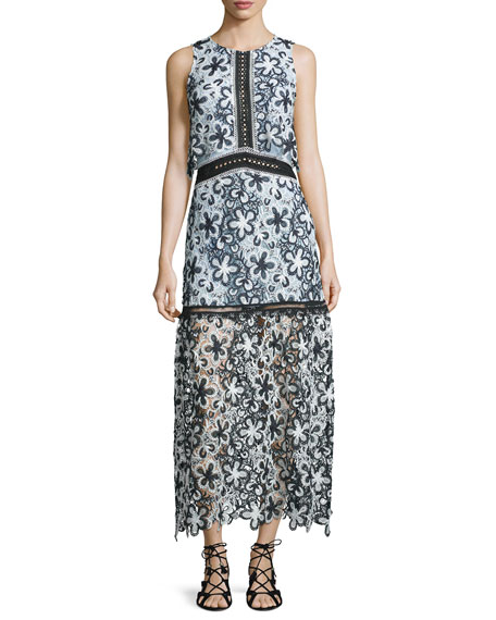 Self Portrait Sleeveless Floral Lace Popover Maxi Dress,