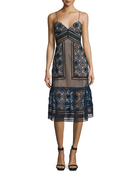 Self Portrait Sleeveless Mixed-Lace Midi Dress, Navy/Black/Nude