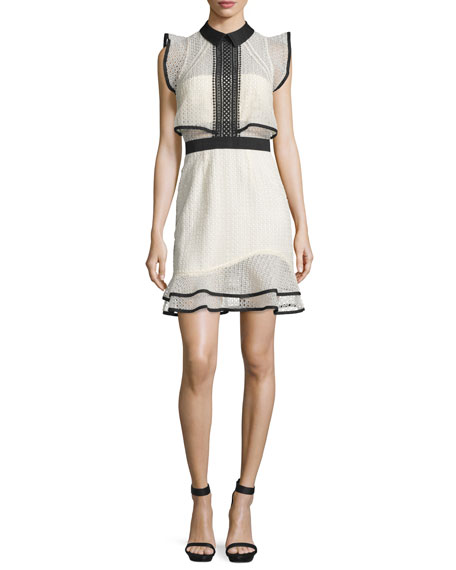 Sleeveless Lace Popover Mini Dress, White/Black