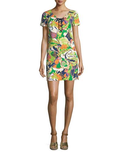 Paisley Lace-Up Short-Sleeve Shift Dress