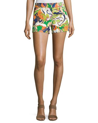 Paisley-Printed Short Shorts