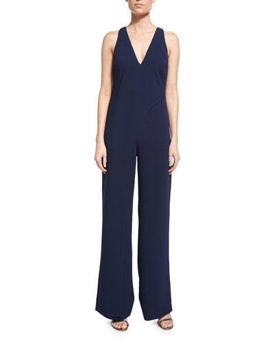 Sleeveless Draped-Top Wide-Leg Jumpsuit