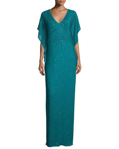 Beaded Flutter-Sleeve Column Gown, Jade