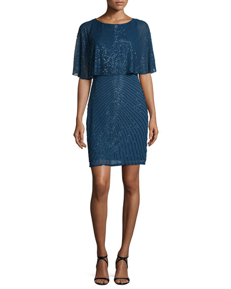 Aidan Mattox Beaded Popover Cocktail Dress, Steel Blue