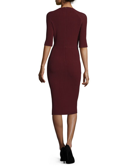 Half-Sleeve Knit Bodycon Cocktail Dress, Bordeaux
